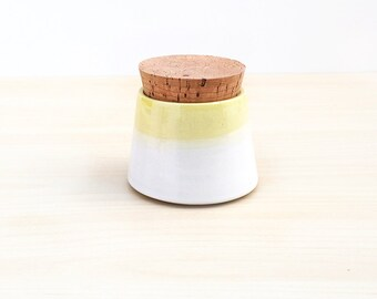 Small Pottery Spice Jar - White + Yellow