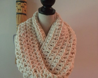 cream and gold crocheted infinity scarf, wool, soft