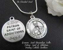 Women's Saint Kolbe Patron Saint of Addictions Healing Catholic Necklace
