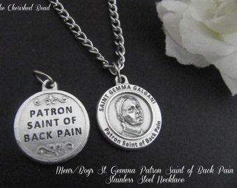 Men's/Boy's Saint Gemma Patron Saint of Back Pain Stainless Steel Necklace