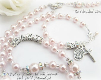 Baby Girl Baptism Rosary Set Personalized with Silver Letters and Swarovski® Light Pink Pearls - Heirloom Quality