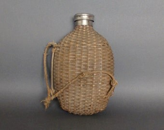 Vintage Hip Flask - Early 20th Century Wicker and Glass Flask