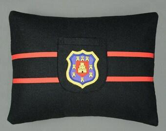 Preppy Pillow - Hand-made Felt Pillow using an Original 1950's School Badge