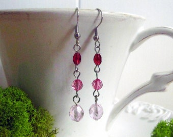 Pink Crystal Dangle Earrings, Bridal Jewelry, Bridesmaid Gift, Handmade, Wedding Jewelry, Anniversary Gift, Boho Earrings, Gift for Wife