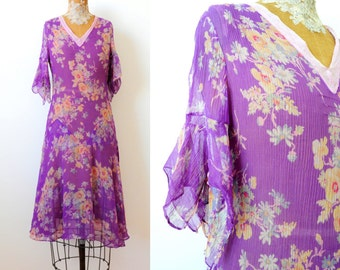 Vintage 1930's purple silk chiffon dress shabby floral print