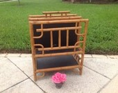 TALL BAMBOO RATTAN Magazine Rack Chippendale Style / English Magazine Stand / Over 2 Feet Tall / Palm Beach Chic at Retro Daisy Girl
