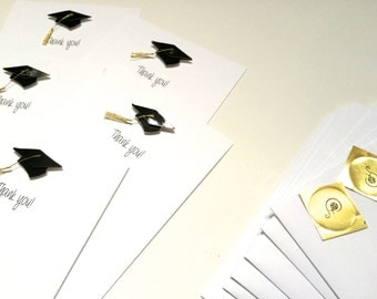 Set of 5 Graduation Thank You Cards, Flat, made on recycled paper, come with envelopes and seal