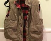 BUFFALO CHECK QUILTED Vest Womens Vest Tan Outer Fabric Hood Pockets Zipper Size Medium at Modern Logic