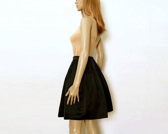 Vintage 1980s Puff Mini Skirt Black Open Pleat Sewn In Crinoline Skirt / Small