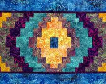 Large Handcrafted Quilted Batik Bargello Bed Runner Table Runner rainbow