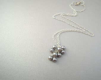 Grey Pearl Necklace, Pearl Cluster Necklace, Bridesmaid Jewelry