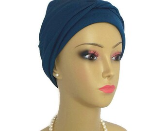 "Jersey Scarf Turban: Deep Blueberry  - Refreshing  Comfortable Chemo Headwear  -  17"" Ties with/without Daisy Pin"