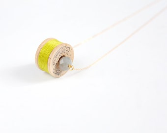 Spool Necklace - no. 12 / Citron Green Wood Spool Necklace / Sewing Necklace / Seamstress Necklace / Thread Necklace / Gift for a Seamstress