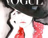 Vogue Cover Art Archival Prints . Watercolour Fashion Illustration Prints. Vogue Art Titled: White&Red Vogue