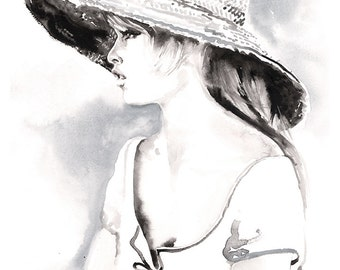 Bardot Print,  Art Print of Watercolor painting.  Titled - BB Brigitte Bardot