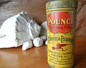 Vintage Pounce tin with Art Nouveau style decoration collectible Keuffel & Esser Co sewing dressmaker decorative tin  yellow and red