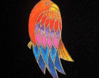 SALE*Set of 5 Tropical Bird Appliques*Handmade*RARE Laurel Burch Fabric/165