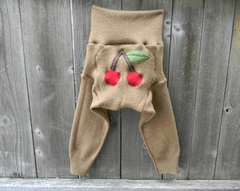 LARGE Upcycled Wool Longies Soaker Cover Diaper Cover With Added Doubler Light Brown With Cherries  Applique LARGE 12-24M