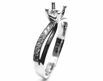 Semi Mount Engagement Ring Pave-set Diamonds 18K White gold