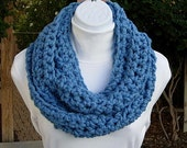 Cowl Scarf Infinity Loop Light Medium Sky Solid Blue Bulky, Soft Wool, Crochet Knit Winter Circle Wrap, Neck Warmer, Ready to Ship in 2 Days
