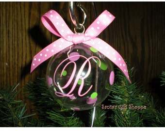 4 Monogrammed Initial Heirloom Ornaments w/Polka Dots - ORNAMENTS NOT INCLUDED (Vinyl Decals/Dots to make 4 Ornaments)  Christmas Ornaments