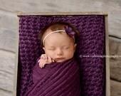 SET Ruffle Stretch Fabric Layer Wrap and Headband Eggplant Purple Newborn Photography Prop