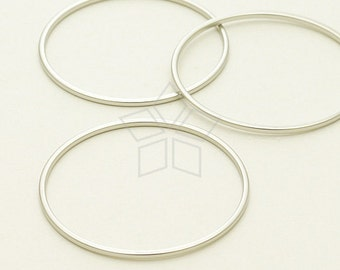 ME-206-MS / 4 Pcs - Circle Ring, Circle Connector, Circle Link, Matte Silver Plated over Brass / 30mm