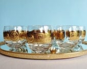 Vintage Culver 22 Kt. Gold Roly Poly Glasses - 1960s Hollywood Regency - Retro Barware