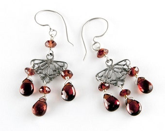 Blooming Garnet and Sterling Silver Earrings