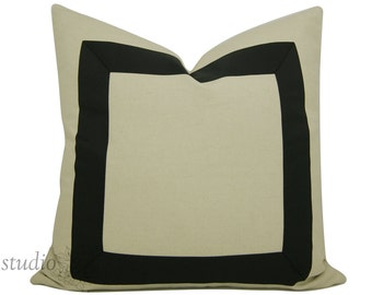 Black Ribbon Pillow Cover  - You Choose size between 17 to 26 inches - Black Ribbon embellishment - euro sham - made to order