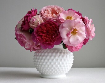 Vintage Fenton Hobnail Milk Glass Vase -- Large and Round White Vase for Flowers