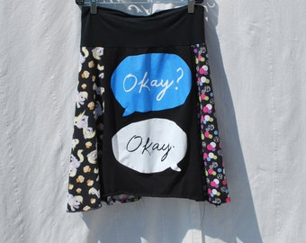 Recycled tee shirt skirt  medium with rayon waistband   M0073