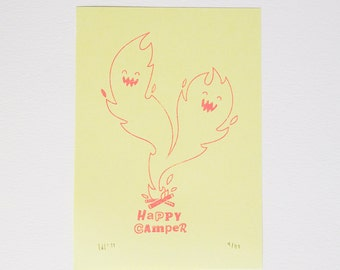 Happy Camper Gocco print illustration A6