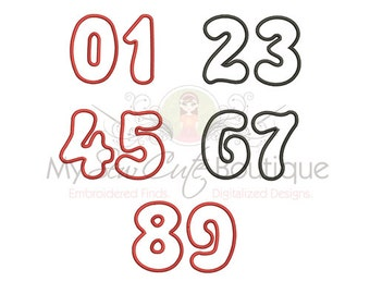 Applique Numbers Embroidery Design - Embroidery Applique Numbers - 8 sizes - Instant Download