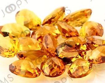 Citrine Honeycomb Faceted Oval Cabochon 6x8mm - 1 cab