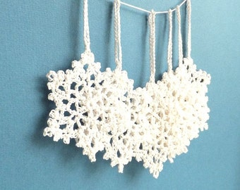 Crochet Christmas ornaments - Christmas tree decorations - white holiday ornaments - crochet snowflakes ornaments - set of 6 ~2.8 inches