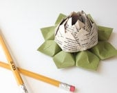 Dictionary Origami Lotus Flower Decoration, Favor, Gift - Teacher Thank You, Graduation, Back to School - paper flower, origami flower