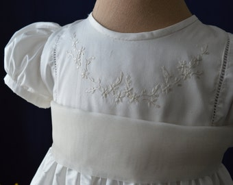 Christening gown silk with hand embroidery