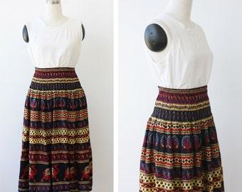 1990s vintage rayon boho India skirt, bohemian hippie festival skirt