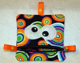 Handmade Colorful Geometric Zippered Monster Coin Purse -  gift card holder