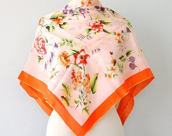 Silk scarf Floral silk shawl Botanical print neck scarf Luxury gift for her Nature inspired Pure silk scarves Summer accessories Orange
