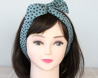 Teal headband polka dot headband rockabilly headband retro head wrap top knot headband adult headband woman tie up headband  hair wrap gift