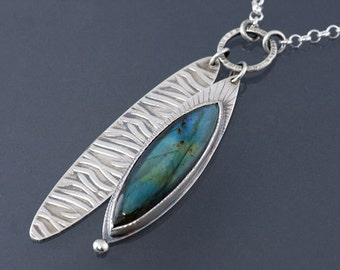OOAK Long Labradorite Sterling Silver Pendant with Sterling Silver leaf Accent, Nature necklace pendant, Botanical pendant