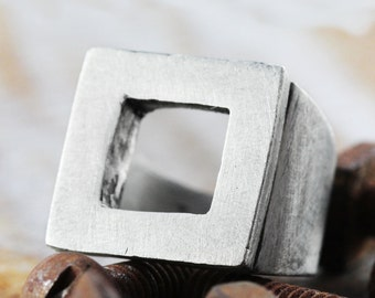 Square Man Ring Rustic Silver Open Mens Personlize Rings