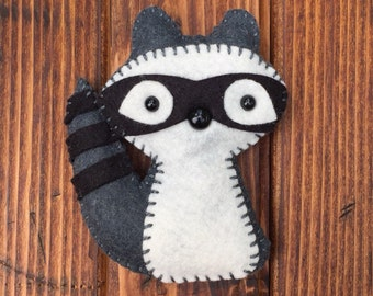 wool felt raccoon plush toy christmas ornament mobile attachment rear view mirror decoration