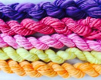 Mini Skeins  handspun hand spunknittingcrochet supplies wool yarn  Waldorf Doll hair merino baby photo pro