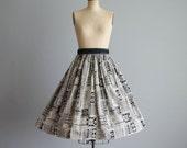 VIntage 1950s Novelty Print Skirt - 50s Full Skirt - Ink and Pen Skirt