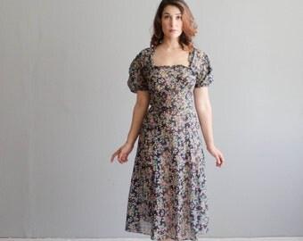 Vintage 1930s Dress - Floral 30s Dress - Carry a Tune Dress