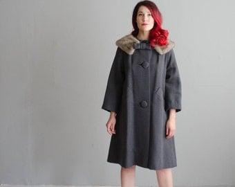 60s Wool Coat - Vintage 1960s Fur Collar Coat - Swing on By Coat