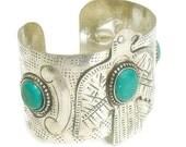 Eagle Bracelet, Wide Cuff Bracelet, Stamped Eagle Bracelet, Southwest, Native, Turquoise, Symbolic Bird, Eagle Jewelry, Thunderbird